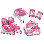 HELLO KITTY Inline Roller Skates Set (30 - 33) (Inline Skates, Protective Helmet/ Pads, Crystal Bag) (OHKY21).