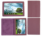 iTALKonline PADWEAR ADVANCED Executive PURPLE Wallet Case Cover Stand With TRI-FOLD SMART TILT For Asus TF201 TF-201 Prime