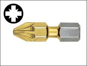 Witte Pozidriv 1 Point Titanium Coated Screwdriver Bits (Card2) 25 mm