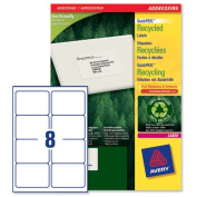 Avery Addressing Labels Laser Recycled 8 per Sheet 99 1x67 7mm White Ref LR7165 100 800 Labels