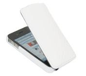 Premium Leather White Clip On Flip Case. Apple iPhone 4, 4S