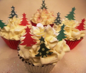 Christmas Cake Decorations - Edible Wafer Cupcake Christmas Trees - Green and Red Mix - Stand Up Christmas Trees x 24