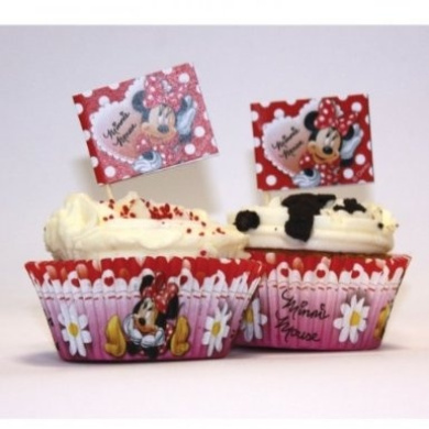 Minnie Mouse Red Polka Dot Party Cupcake Cases & Flag Picks x 24