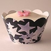 Little Cupcake Boxes Company Exclusive Cupcake wrappers - pack of 10 - Silver Stars design