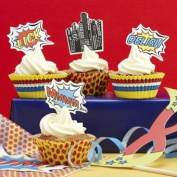 Cupcake Toppers & Cases - Pop Art Superhero Party