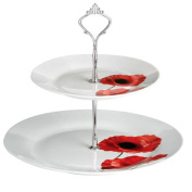 POPPY - 2 Tier Porcelain Cake Stand / Afternoon Tea Plate