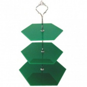 Three Tier Green Hexagon Cake Stands - Large + Silver Handle