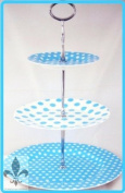 Baby Light Blue Dots Spots 3 Tier Cake Stand Fine Bone China Free UK Delivery