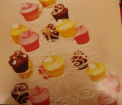 Cup cake stand holds 49 cupcakes Cream Metal Swirl Shabby Chic