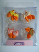 12 ICE CREAM CONE Sugar Cake Decorations (Pipings){Cupcake Toppers}