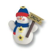 Christmas Cake Decoration Topper Claydough Snowman With Sign 65mm