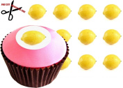 12 X LEMON (Whole) 38mm (1.5 Inch) PRE-CUT Cake Toppers Edible Rice Paper Cupcake Decoration 52