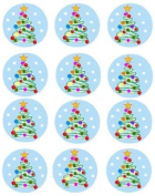 12 x 40mm Christmas Tree Cupcake Toppers