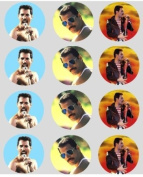 12 Freddie Mercury rice paper fairy / cup cake 40mm toppers pre cut decoration