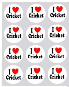 12 I Love Cricket design rice paper fairy / cup cake 40mm toppers pre cut decoration