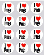12 I Love Pugs dogs design rice paper fairy / cup cake 40mm toppers pre cut decoration