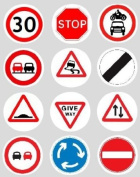 12 Road Sign design rice paper fairy / cup cake 40mm toppers pre cut decoration