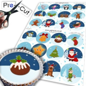 24 x PRE-CUT Christmas Cupcake Cake Toppers Decorations