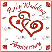 "Ruby Wedding Anniversary Cake Topper - Edible Icing 7.5"" 19cm Square - 40th Anniversary Cake Decoration"