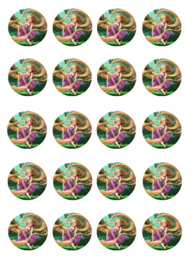 20 pre-cut Princess Rapunzel from Tangled round edible cup cake topper decorations by Topped Off (FREE UK POSTAGE)