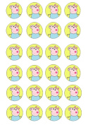 24 pre-cut Peppa Pig edible cup cake topper decorations by Topped Off