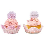 Pink cupcake cake toppers and cases