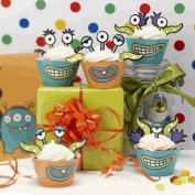 Monster Party Cupcake Toppers & Wraps Decorations - Monster Madness