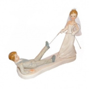 Comical Bride Dragging Groom Cake Topper