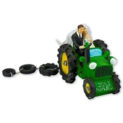 Bride and Groom on Green Tractor