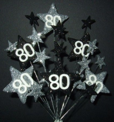 STAR AGE 80TH BIRTHDAY CAKE TOPPER DECORATION IN SILVER AND BLACK