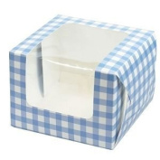 Cupcake boxes for 1 cupcake - blue gingham - pack of 10