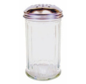 12oz Dredger Shaker Glass / Steel for Sugar Flour Cappuccino Chocolate