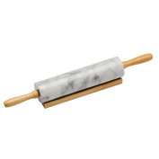 46cm Rolling Pin White Marble For Baking Kitchen