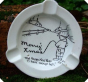 c1940s Comic Risque Hand Painted Ashtray Merry Xmas