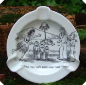 c1940s Comic Risque Hand Painted Ashtray Three Times