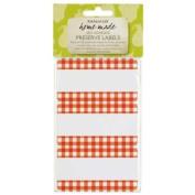 Self adhesive jam jar labels - gingham - bag of 30