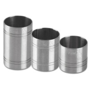 Stainless Steel Thimble Bar Measures 3 Piece Bundle Set | 25ml, 35ml & 50ml | Thimble Measures, Shot Measures, Spirit Measures
