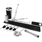 Black Cocktail Shaker Set | Vinyl Coated Cocktail Set, Cocktail Equipment Set, Bar Accessories Set includes Boston Cocktail Shaker, Bar Mat, Bar Blade, Ice Tongs, 4 x Freeflow Pourers, Muddler, Mixing Spoon, Cocktail Strainer & Jigger Measure