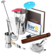 Cocktail Starter Pack by bar@drinkstuff | in Recyclable Box with Boston Cocktail Shaker, Ultimate Bar Book, Muddler, Cocktail Strainer, Bar Knife, Twisted Mixing Spoon, Stainless Steel Pourer, 24x Cocktail Umbrellas & Jigger Measure | Great Kit!