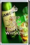 KEEP CALM and HAVE A WHISKEY Fridge Magnet printed on an image of a bottle of Jamesons and two glasses. A unique gift for an Irish Whiskey Lover.