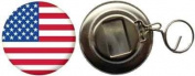 USA Country Flag Large 58mm Button Badge Bottle Opener
