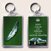 "KEEP CALM and DREAM of an ASTON MARTIN Keyring printed on an image of an Aston Martin DB9 on one side and the iconic Aston Martin badge on the other, from our Keep Calm and Carry On series - an original ""sorry I couldn't get you the real thing"" Father' .."