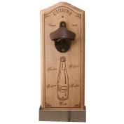 Wooden Wall Mounted Cuisine Bottle Opener Vintage Style