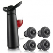 Vacuvin Wine Saver Plastic Concerto Wine Storage Preserving Set, Black