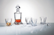 Bohemia Quadro Crystal Glass Decanter 500ml Set with 4 Matching Quadro Glasses