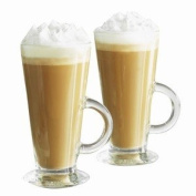 Entertain Latte Glasses 9.2oz / 260ml | Pack of 2 | Handled Latte Glass Mugs, Glass Latte Cups, Coffee Glasses from Ravenhead