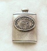 Whisky Hip Flask Pin Badge in Fine English Pewter, Handmade