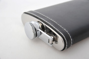 Huntington 270ml Stainless Steel Hip Flask Faux Black Leather