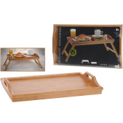 BBTradesales Bamboo Tray with Folding Legs