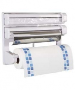 Great Value 7.6cm One Kitchen Roll, Clingfilm, Tin Foil Dispenser - White